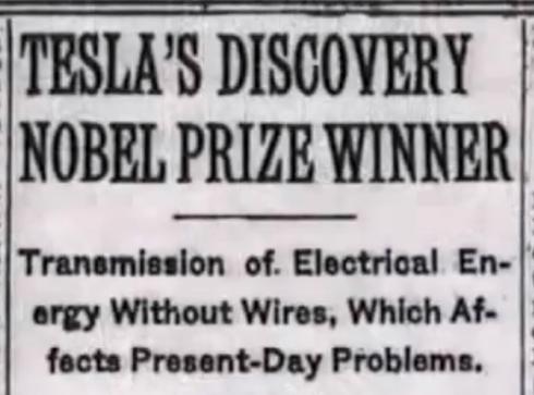 tesla nobel prize