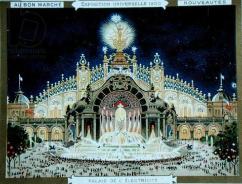 The Palace of Electricity at the Universal Exhibition, from 'Le Bon Marche' shop catalogue, 1900 (colour litho)