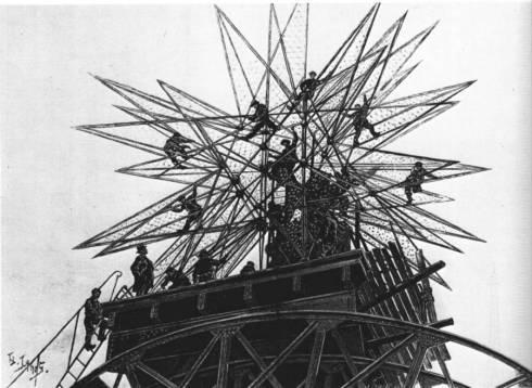 1900 26 mai L-Illustration Le Montage de l-etoile qui surmonte le palais de l-Electricite
