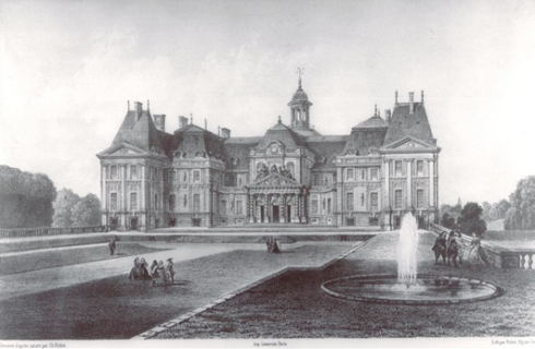 EARLY ENGRAVING OF CHATEAU VAUX LE VICOMTE PARIS