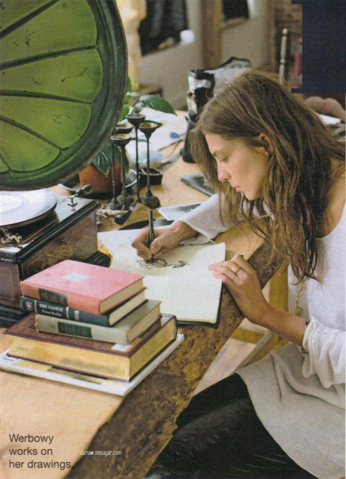 daria werbowy at home drawing - vogue australia by derek kettela