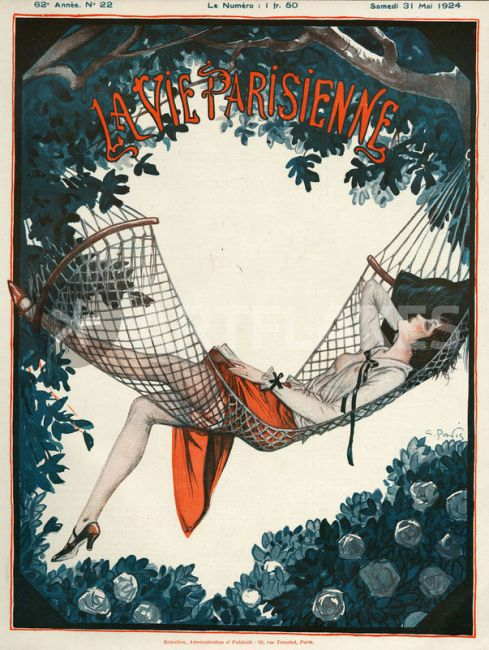 La Vie Parisienne 1924 1920s France Georges Pavis magazines relaxing hammocks reading women woman erotica